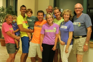 Our amazing family all sporting their Celebration T-shirts!!!