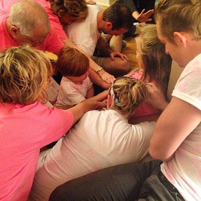 Family and friends praying over Dasah tonight for healing, for the miraculous works of God to be displayed tomorrow morning!